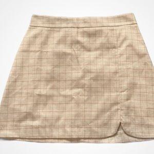 NWT | Plaid A-Line Yellow Mini Skirt